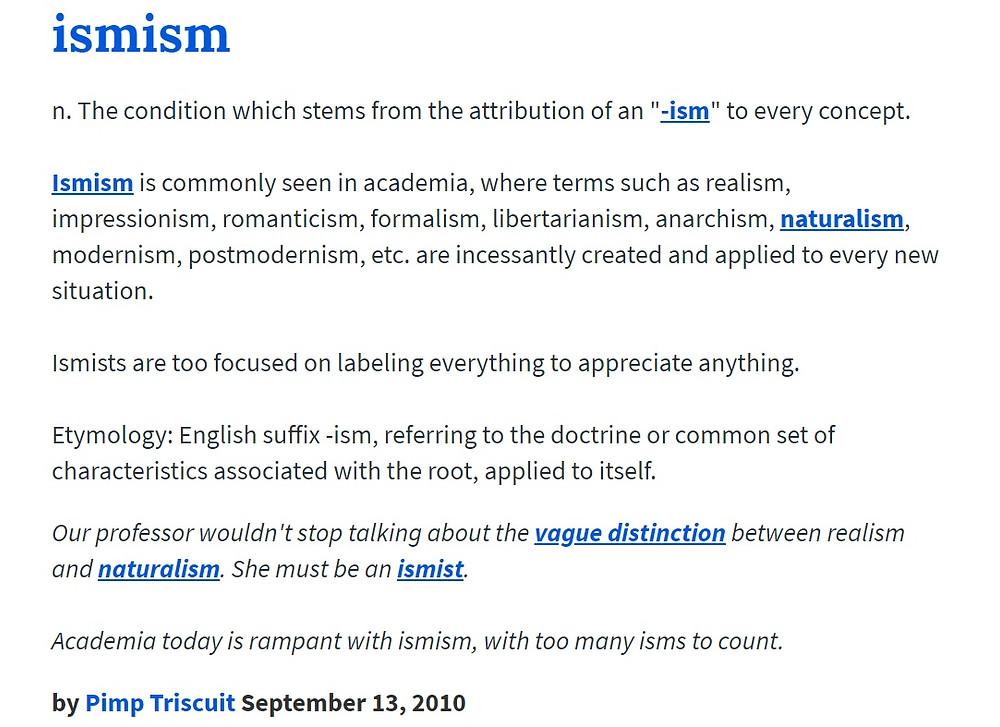 Ismism definition via Urban Dictionary