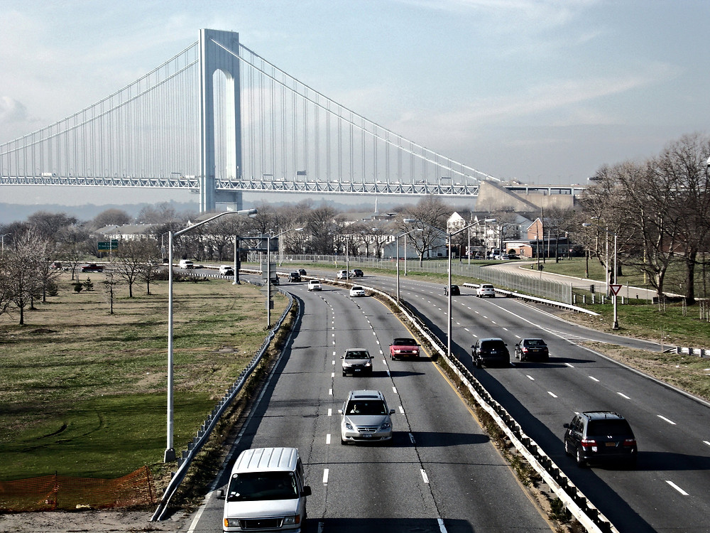 Belt Parkway through Bay Ridge near Verrazano Bridge