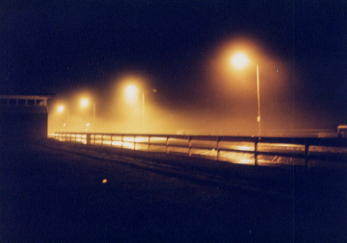 Misty rainy night on the Asbury Park boardwalk, 1991