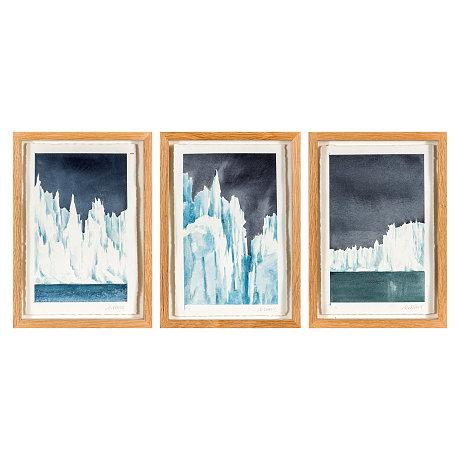 """Suite de trois aquarelles """"Ice Berg"""" Suède 1950"""