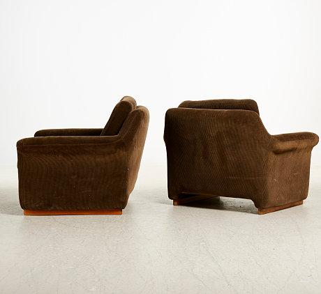 Paire de fauteuils scandinave en velours, Suède 1970
