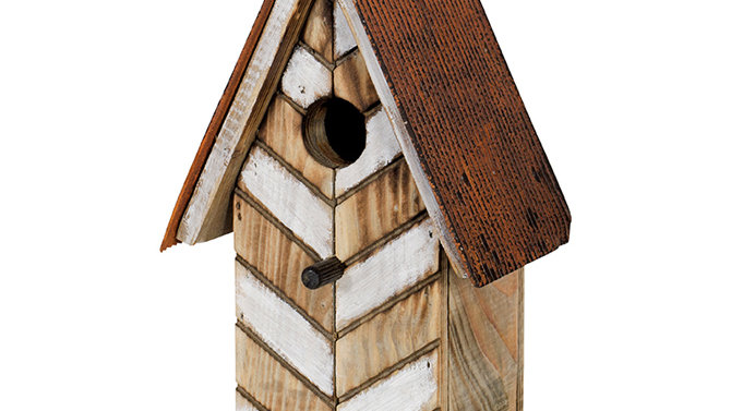 """White Chevron"" Birdhouse"