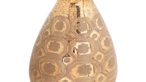 "8"" Round x 10""H Etched Mercury Glass Vase, Gold Finish"