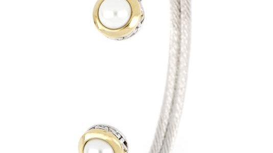 John Medeiros Perola White Seashell Pearl Cuff Bracelet