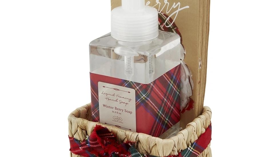 Santa Tartan Soap Napkin Set
