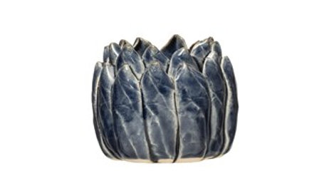 Handmade Stoneware Flower Tealight Holder, Reactive Glaze, Blue