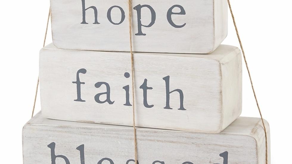 Mud Pie Hope Faith Blessed Blocks