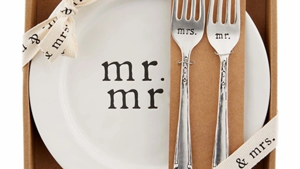 Mud Pie Mr. & Mrs. Cake Plate Set