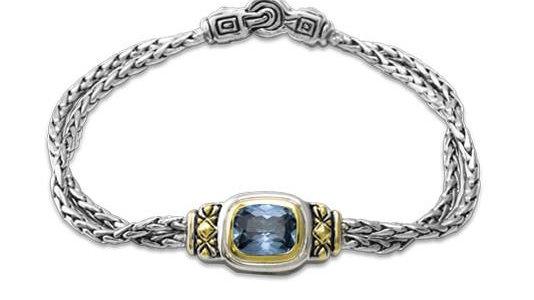 "John Medeiros 7"" Nouveau Double Strand Bracelet Aqua"