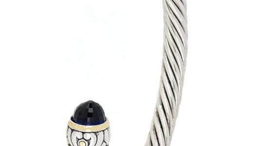 John Medeiros Indigo Nouveau Wire Cuff Bracelet Large