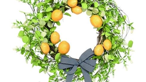 Leaf & Lemon w/bow Wreath