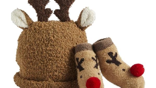 Mud Pie Reindeer Sock/Hat Set
