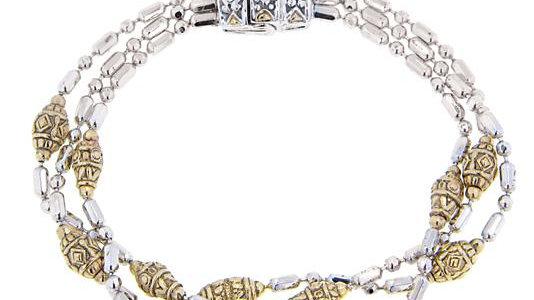 John Medeiros Lustrous Two Tone Beaded Bracelet