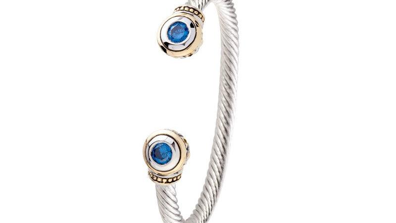 John Medeiros Two Stone Large Cuff Bracelet Sapphire