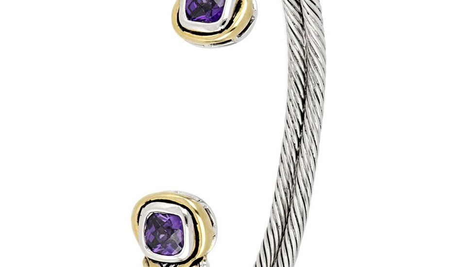 John Medeiros Anvil Color CZ Cuff Bracelet Amethyst