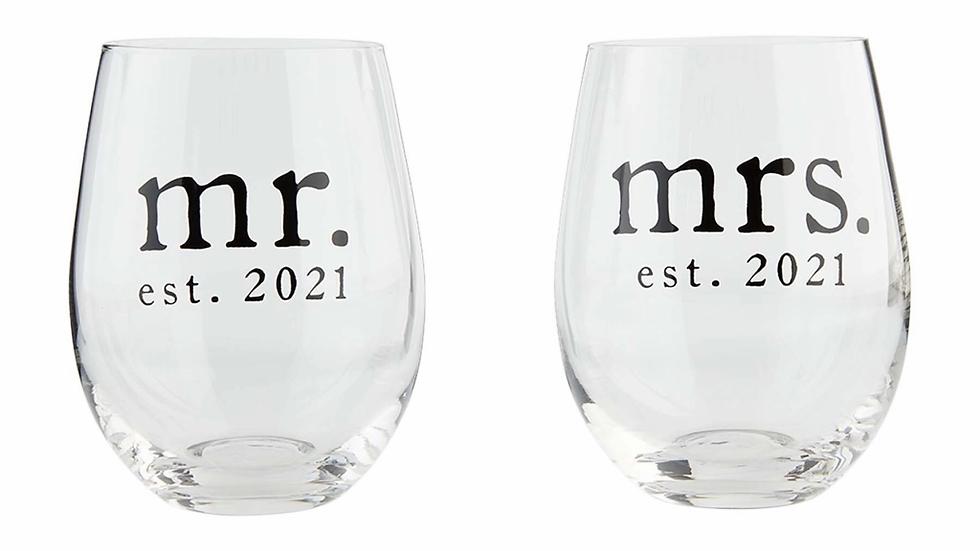 Mud Pie Mr. & Mrs. Wine Glass Set