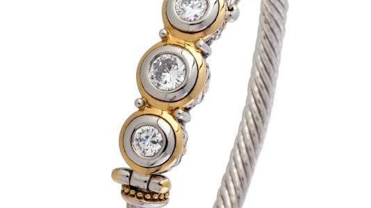 John Medeiros Beijos Three Stone CZ Wire Bracelet