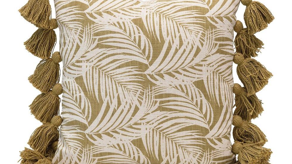 Square Cotton Pillow w/Palm Frond Pattern