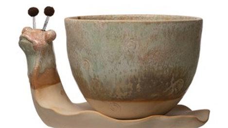 Stoneware Snail Planter, Reactive Glaze, Set of 2