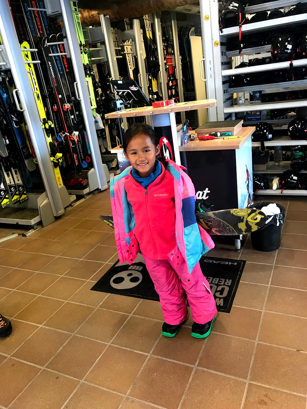 Hi I am Zazi, I am getting my board and boots to go snowboarding for the first time.