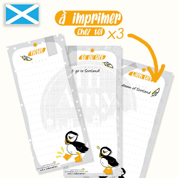 """Lot de x3 - Notes + Whish List + To do List - """" Muffin le Puffin"""""""