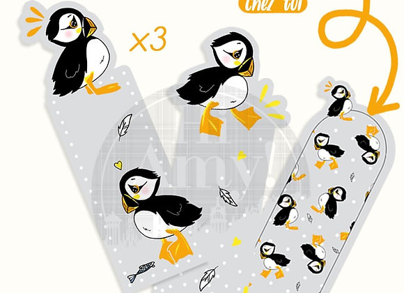 """Lot de x3 Marque-pages """"Muffin le Puffin"""""""