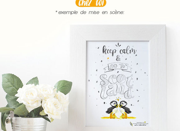 """Poster Inspirant Puffin """"Keep Calm & Go to Scotland"""""""