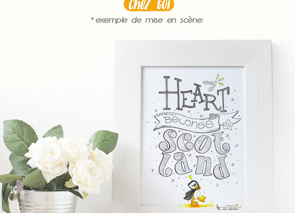"Poster Inspirant Puffin ""My Heart belongs to Scotland"""