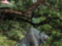 Lion statue, Mt Kurama, Japan