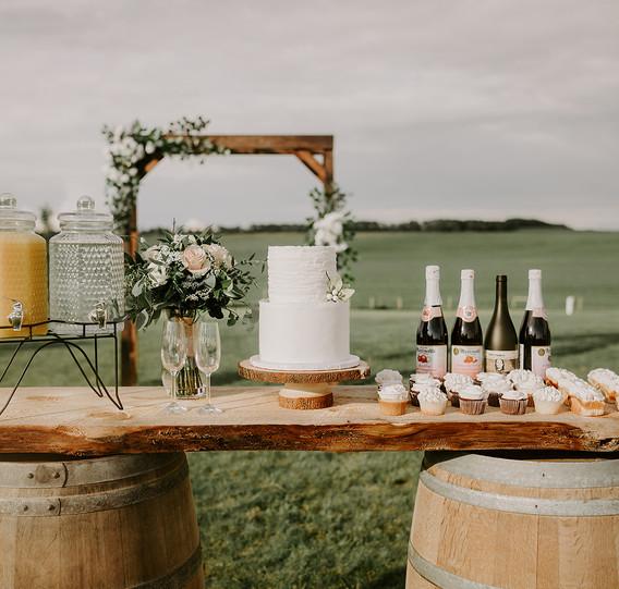 Oak Barrels, Wood Slab and Beverage Dispensers
