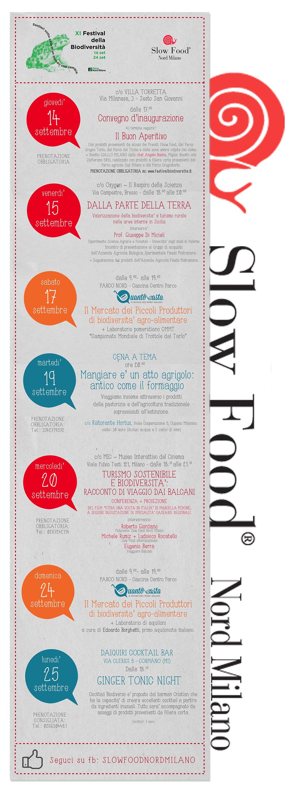 SLOW FOOD NORD MILANO FESTIVAL BIODIVERSITA 2017
