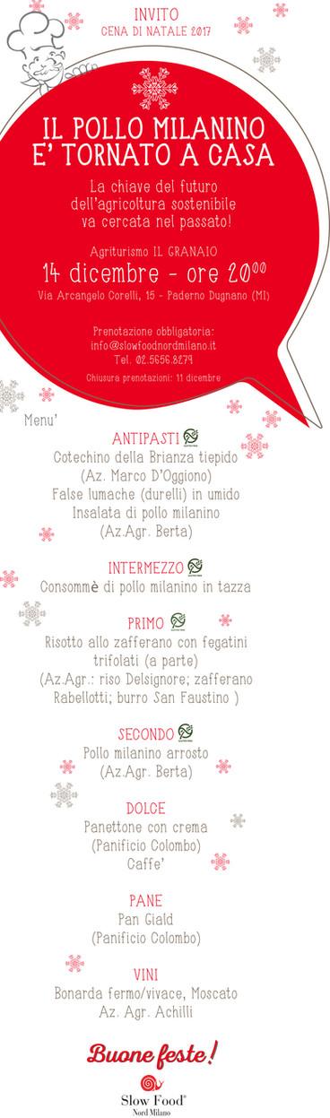 14 dicembre, cena di Natale! Torna il Pollo Milanino!