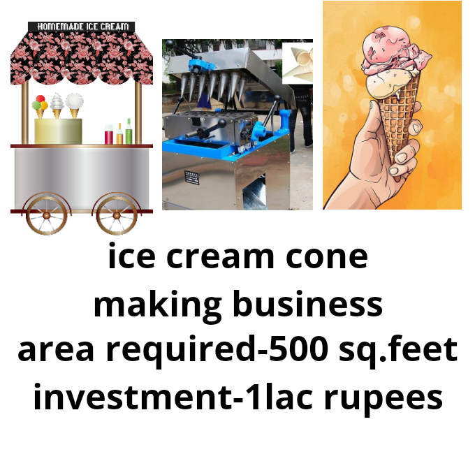 Area and investment required for ice cream cone making business in India