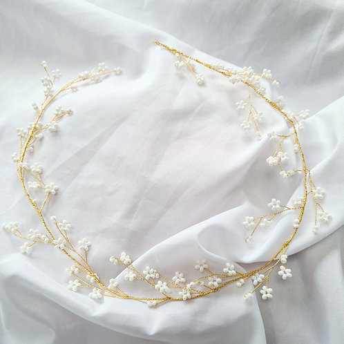 Charlize Pearl Gold Hair Vine