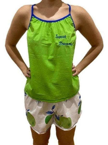 Pijama  Bordada Verde Limones