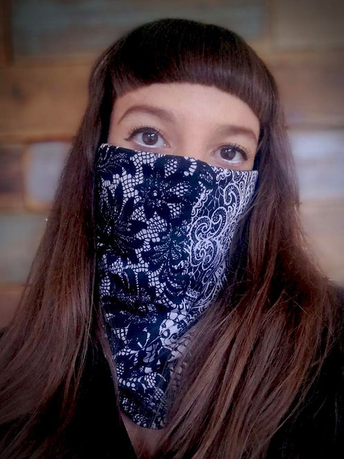 Lace printed face scarf
