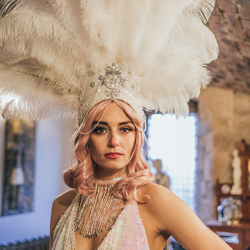 White hologram ostrich feather headdress