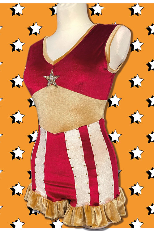 Red Strong gal Circus leotard~ with Rhinestones