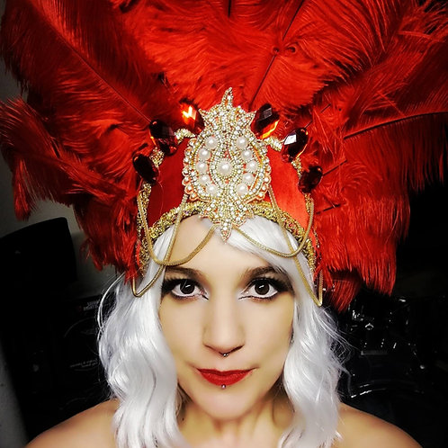 Red Ruby Ostrich Feather Headdress