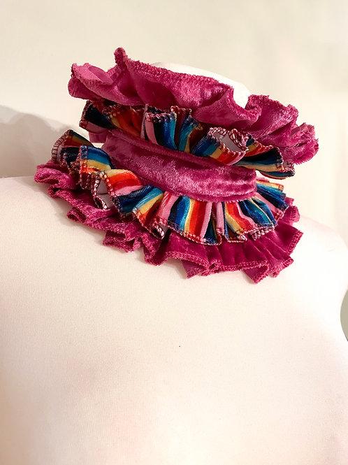 Rainbow velvet Circus Collar