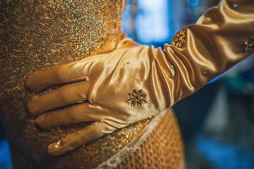 Gold Beaded Silk Gloves
