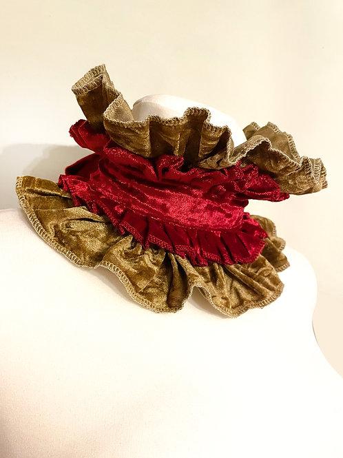 Ruby Gold crushed velvet Circus collar