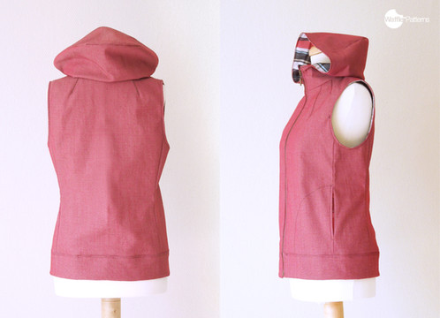Waffle Patterns sewing patterns Hooded Vest -Dropje-