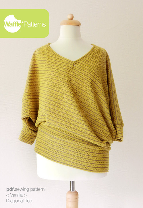 Waffle Patterns sewing patterns Diagonal Knit Top -Vanilla-