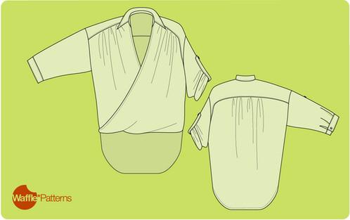 Waffle Patterns sewing patterns Drape Wrap Shirt -Monaca-
