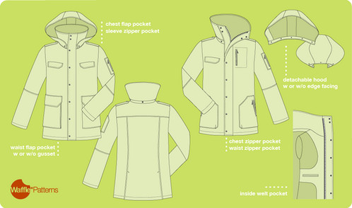 Waffle Patterns sewing patterns Utility Jacket -Tosti- for Men