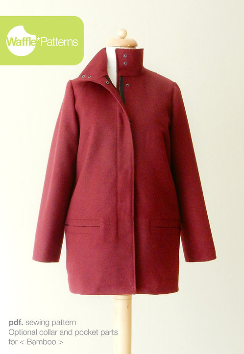 Waffle Patterns sewing patterns / optional collar pocket pattern for bamboo coat