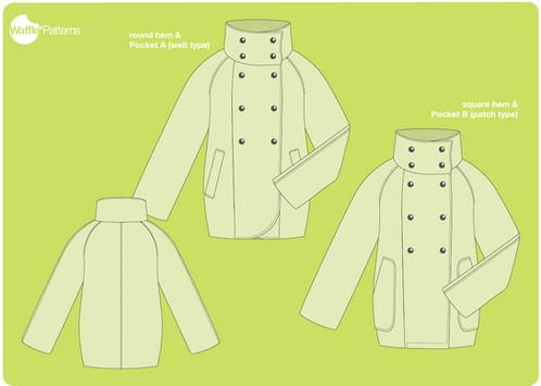 Waffle Patterns sewing patterns Raglan Coat -Yuzu-