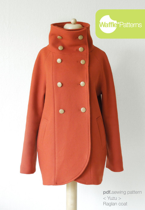 Waffle Patterns sewing patterns Raglan Coat -Yuzu-