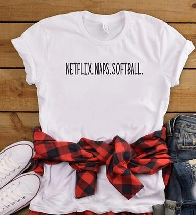 Netflix. Naps. Softball Women's Soft Tee